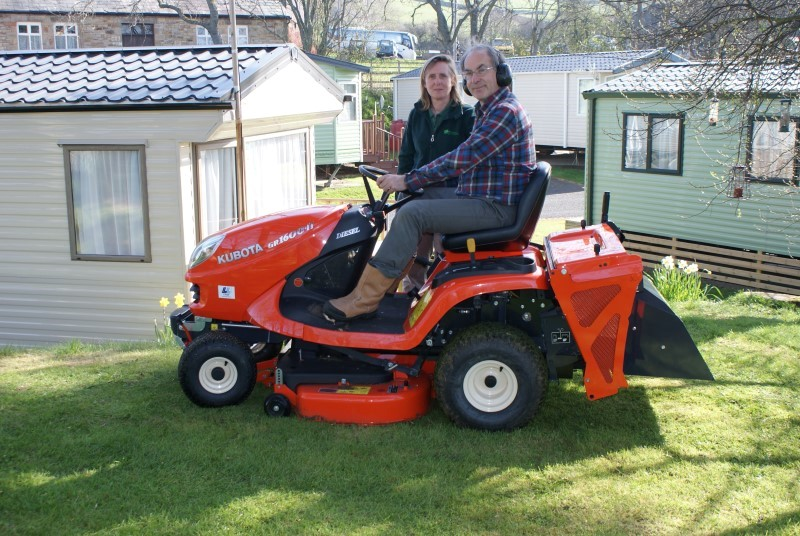 Mike and Verona and the ride-on mower